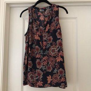 Flower print sleeveless AliceBlue blouse